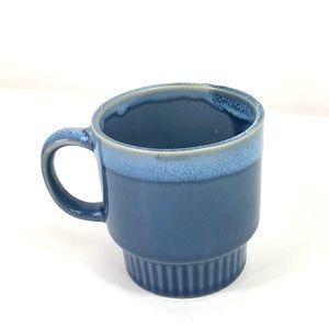 Vintage Japan stackable cup mug blue drip glaze